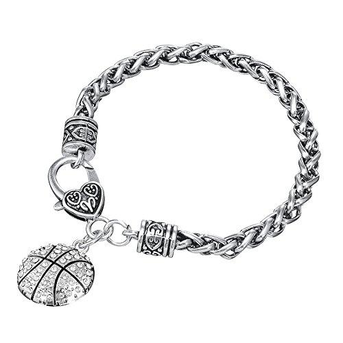Myshape Armband mit Basketball-Anhänger und Karabinerverschluss, für Damen und Mädchen