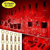 Ariceleo Wine Bottle Lights with Cork, 10 Packs Mini Battery Operated Cork Led Lights for Wine Bottle, Copper Fairy String Lights for Glass Bottle, Christmas, Bar, Bottle Top Stopper (Red)