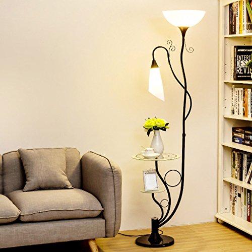 QIFFIY Lámparas de pie Lámpara de pie Moderna, con estantes de Vidrio, 2 Pantallas de acrílico Blanco Claro, lámpara de Luces uplighter, lámpara de pie para Sala de Estar, H164cm lámparas de pie