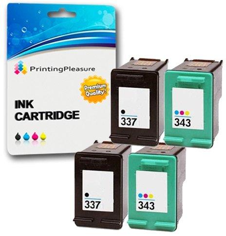 Printing Pleasure 4 Tintenpatronen kompatibel zu HP 337 343 für Photosmart 2500 2570 2573 2575 C4110 C4180 8050 DeskJet D4160 5940 6980 Officejet 6300 6310 6313 6315 - Schwarz/Color, hohe Kapazität