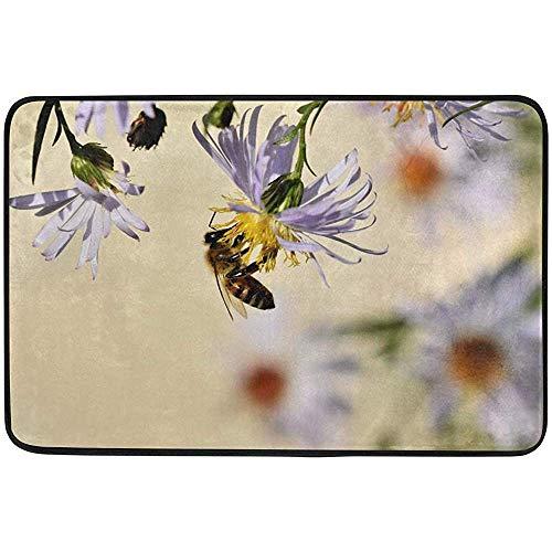 Ogden Moll Throw Blanket Pattern Rutschfester Rechteck Teppich Honigbiene Insektenblüte Pollen Makro Home Dekorative Teppiche Teppich,60x91 cm(36x24 Zoll)