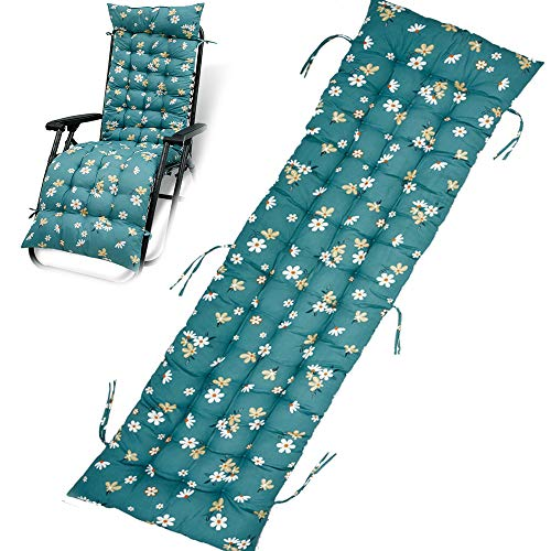 Sun Lounger Cushions Replacement Garden Recliner Lounge Pad Chair Cushion Pad Bench Cushions for Travel Holiday Window Cushion Garden Indoor Outdoor 155x48cm (Flower)
