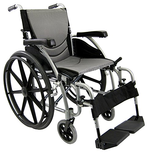 Karman Healthcare S-ERGO115F16SMG S-Ergo 115 16' seat Ultra Lightweight Ergonomic Wheelchair with Swing Away Footrest and Mag Wheels in Silver & Free Wheelchair Seatbelt!