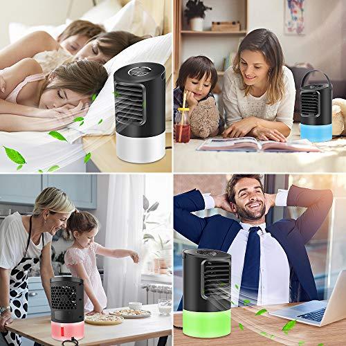 Ameiko, ventilatore portatile per aria condizionata, mini evaporazione con 7 colori che cambiano la luce, 3 velocità della ventola, umidificatore super silenzioso per casa, ufficio, camera da letto