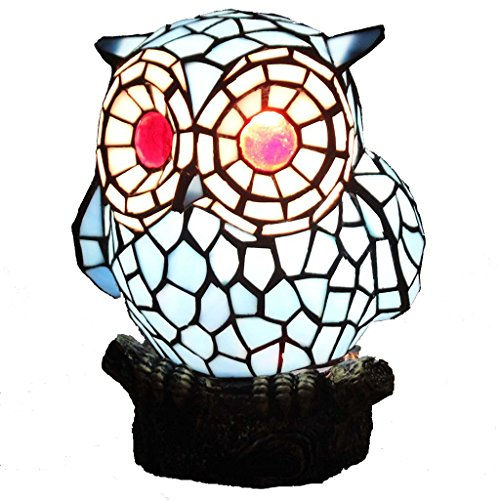 Bieye L10209 Tiffany Style Stained Glass Owl Accent Table Lamp with Handmade Lampshade, Suitable for Decorating Room (Blue)