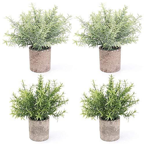 Kirmax Plantas Verdes Artificiales de PláStico en Macetas de 4 Piezas, Planta Falsa de Arbustos de Topiario Falso, VegetacióN de ImitacióN PequeeA, para BaaO