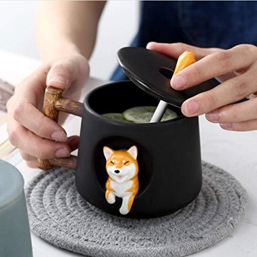 Yodensity Niedliche Cartoon-Tier-Tasse Shiba Inu Keramik Tasse Kreative Männer und Frauen Paar mit Deckel Löffel Trinkwasser Kaffeetasse (schwarz)