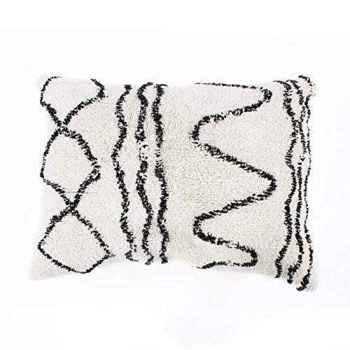 Ethno Berber kussen - 60 x 80 cm - natuurlijk beige en zwart