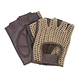 Autofahrer Handschuhe Retro Vintage Leder Fingerlose Fahrerhandschuhe Fahrrad Oldtimer Braun