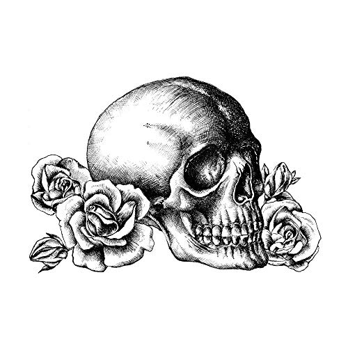 Crafty Individuals unmounted Rubber Stamp - Skull n Roses - CI-529