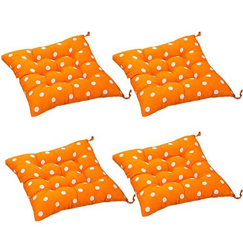 AGDLLYD 4 cómodos Cojines Cuadrados para Silla (Lunares), tapicería para Exteriores, Cojines para Patio, Cocina de jardín, cojín para Silla de Comedor 40x40x8 cm (Naranja)