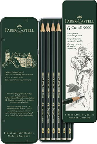 Faber Castell 119063 - Estuche de 6 lápices Castell 9000, graduación HB, B, 2B, 4B 6B y 8B, color negro, gris