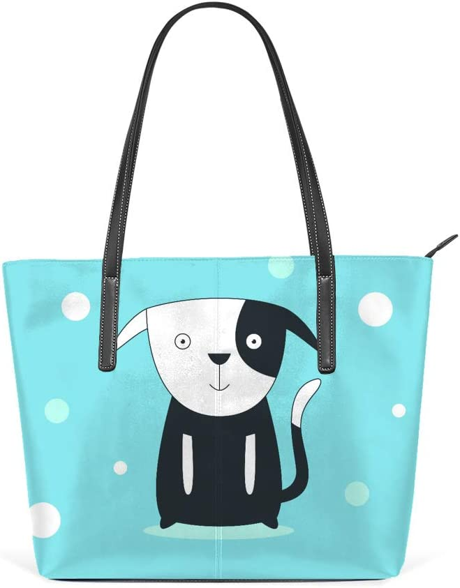 Shopper Bag Large Work Tote Bags Women's PU Leather Fashion Dog on Blue Background Handbags Casual Bag