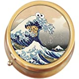 The Great Wave Cookie Monster Brass Round Pill Box