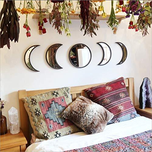 Kf.Lish Wandspiegel Mondphase Wandbehang Ornamente Acrylart Wanddekoration Selbstklebend Mond Holzrahmen Hängenden Spiegel für Haus Raumdekoration