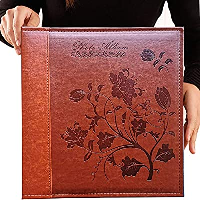 TOTOCAN 5x7 Large Photo Albums 360 Pockets, Holds 360 5x7 Photos with Writing Space,Extra Large Capacity Picture Album with Vintage Leather Cover, Family, Baby, Wedding, Travel Photobooks (Brown)