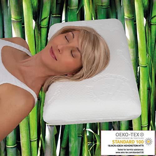 daydream Kopfkissen aus Memory Foam mit Bambus-Bezug - das ergonomische Bett- und Schlafkissen , 65 x 35 x 10 cm (P-12100)