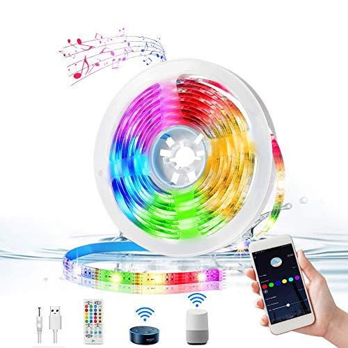 WiFi LED Streifen 3M, KNMY Musik LED Strip Lichtband Kompatibel mit Alexa, Google Assistant, RGB IP65 Wasserdicht LED TV Hintergrundbeleuchtung, APP Steuerbar, für Haus, Küche, TV, Party Dekoration