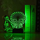 GoodLights LED Mirror Tunnel Night Light, 3D Double-Sided Infinity Mirror Lamp Bat Sign Battery Operated, Night Lights for Kids Room, Party, Halloween Decorations (Skull, Green)
