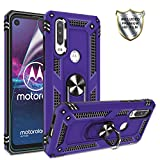 Moto One Action Case, Moto P40 Power Case with HD Screen Protector,Gritup 360 Degree Rotating Metal Ring Holder Kickstand Armor Anti-Scratch Bracket Cover Phone Case for Motorola One Action Purple