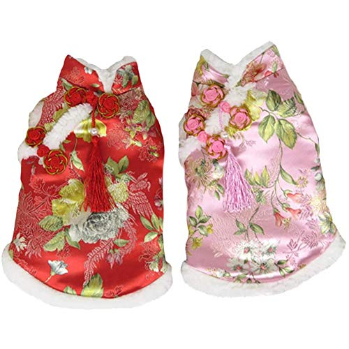 DELIFUR Dog Tang Costume with Peony Pattern Pet New Year Costume Tang Dynasty Cheongsam Cat Dress for Schnauzer Teddy French Bulldog (Large, Pink)
