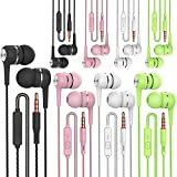 Heavy bass Earphone Color Call with Mic Stereo Earbud Headphones Mixed Colors (Black + White + Pink + Green 8 Pairs)…