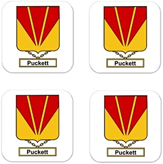 Puckett Family Crest Square Coasters Coat of Arms Coasters - Set of 4