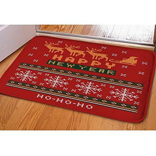 Nopersonality Merry Felpudo de Navidad para puerta, diseño de felpudo con motivos navideños, Franela,...