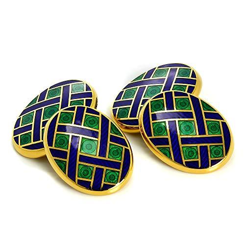 Boutons de Manchette Ovales Bleus et Verts en Or Jaune 9 Carats et Email - A Chaînette