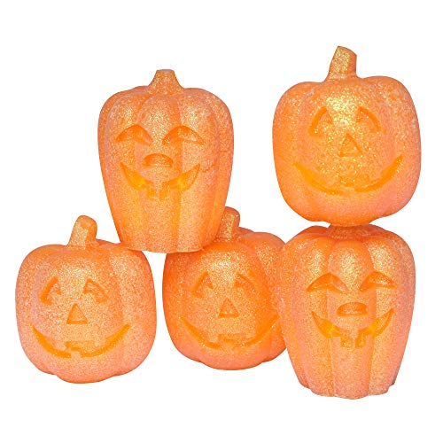 Eldnacele Set of 5 Pumpkin LED Candles for Halloween, Flameless Flickering Candles with Timer, Halloween Gifts Jack O Lantern