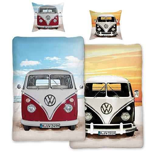 VW Volkswagen Bulli Bettwäsche Beach Rot / Schwarz 135 cm x 200 cm + 80 cm x 80 cm VW-Bus T1 100% Baumwolle in Renforcé-Linon-Qualität Retro Camper Van 2 Motive Wendebettwäsche Reißverschluss 089