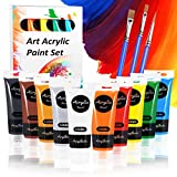 Set da Colori Acrilici, Set di 13 PCS Premio Pittura Acrilica Compreso 10 x 120 ml Pigmento Acrilico + 3 Pennellino-Non Tossico & Colori Vibranti Colore Acrilico per Carta, Roccia, Legno, Ceramica