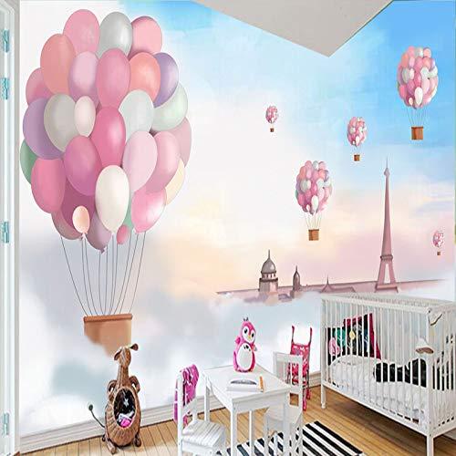 NIdezuiai behang, Rosa Hot Air Balloon Creative Series Aanpassen 4D wallpaper TV-lisse muur decoratie kunst Hd-print poster afbeelding voor woonkamer slaapkamer Hotel Home Decor grote zijde wandafbeelding 260cm(H)×420cm(W)