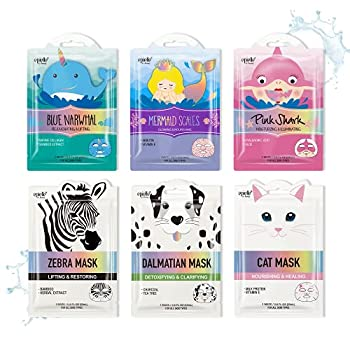 Epielle Character Sheet Masks | Animal Spa Mask | Dalmatian Zebra Cat Shark Narwhal Mermaid Scale | Korean Beauty Mask -For All Skin Types  Pack of 6  | Birthday Party Gift for her kids Spa Day