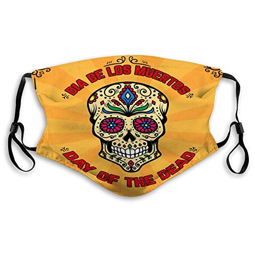 Ha99y Mundschutz, Sanitärabdeckung Tag tot Dia de Los Muertos Banner Vorlage Mundschutz