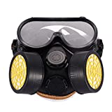 rayinblue ABB767576 Anti-Dust Spray Paint Industrial Chemical Gas Respirator Mask Glasses Goggles Set, As Shown in The Picture