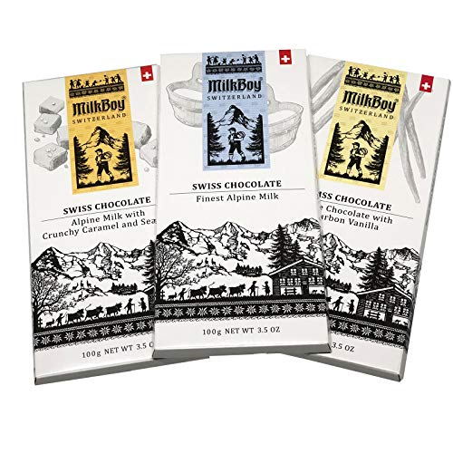 Milkboy Feinste Schweizer Schokolade Probierpaket 3 x 100g - Mit den Sorten Alpenmilch Crunchy Caramel & Meersalz und Weiße Schokolade