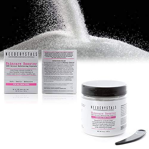 NeedCrystals Microdermabrasion Crystals, Scrub facciale. Esfoliante viso naturale per pelle opaca o secca migliora cicatrici da acne, punti neri, dimensioni dei pori, rughe, imperfezioni e texture della pelle. 454 Grammi