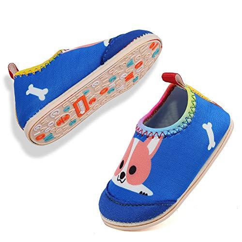 VIFUUR Baby Boys Girls Water Shoes Barefoot Aqua Socks for Beach Pool Indoor Play Dog Blue 18/19