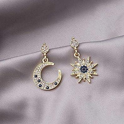 Gold Annulus Pendant Earrings Drop Earrings Sun Moon Asymmetric Imitation Pearl Earrings