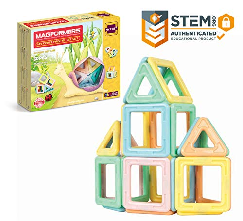 Magformers My First Pastel (30 Piece) Toy of the year Construction finalist 2018 Magnetic Building Blocks, Educational Magnetic Tiles Kit , Magnetic Construction STEM toddler Toy Set