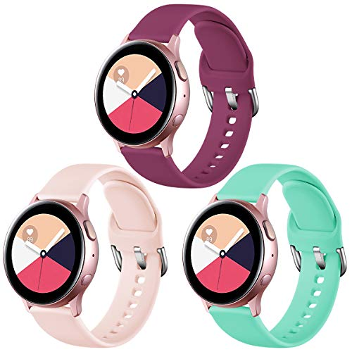 Vobafe Correa Compatible con Samsung Galaxy Watch Active/Active 2 (40mm/44mm), Correas de Repuesto de Silicona Suave con Cierre para Galaxy Watch 3 41mm/Gear Sport, L Rosa/Vino Rojo/Aqua