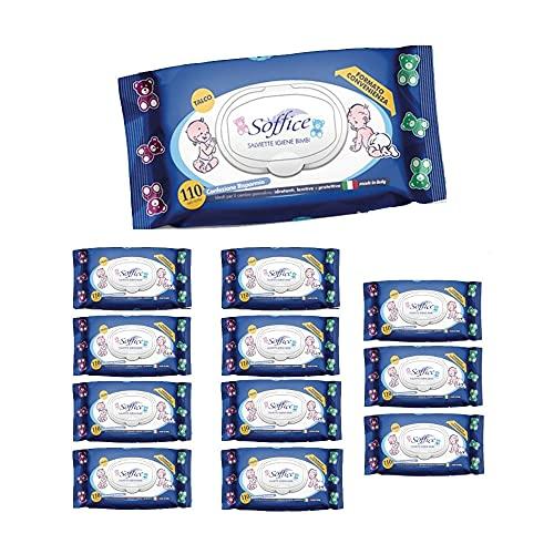 Soffice Toallitas Baby Talco con tapón 12 paquetes x 110 toallitas – 560 g