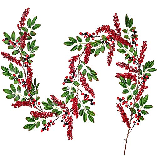 Lvydec Red Berry Garland Christmas Decoration - 6ft Artificial Greenery Garland with Red Berries and Green Leaves for Holiday Fireplace Mantel Table Decorations