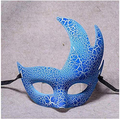 ERTY&OMB Mscara de Halloween Mscara de Ojo Elegante Media Cara meteorito Tortuga tormento Crack Azul Disfraz Fiesta Adulta Fiesta Rave Accesorios
