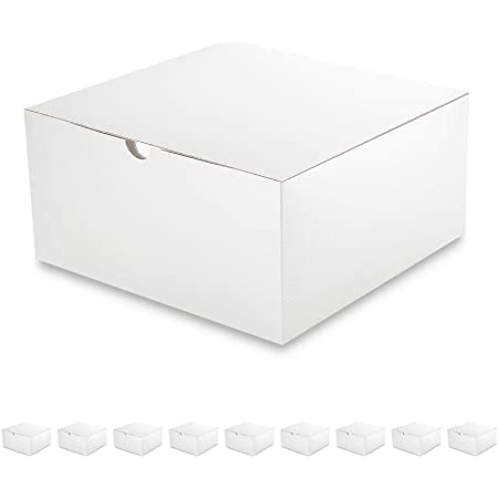 PACKQUEEN 10 Gift Boxes 8x8x4 inches, Easy Folded Bridesmaids Proposal Gift Boxes with Lids for Gifts, Crafting, Cupcake Boxes, Glossy White Gift Boxes, Textured Finish