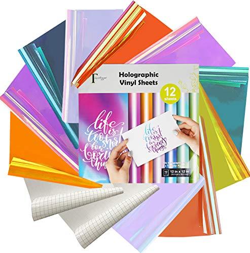 Tavolozza - Carta vinilica olografica opale, 30,5 x 30,5 cm, confezione da 12 fogli con 2 fogli di carta per la decorazione della casa, logo, striscioni, esterni auto, specchi in vetro