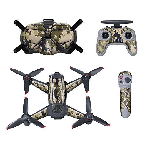 DJFEI FPV Combo Drone Skin, Set Completo di Adesivi per Drone e Controller, FPV Combo Drone Adesivi Decalcomanie Pelle PVC Set Completo di Copertura per DJI FPV Combo Drone (F)