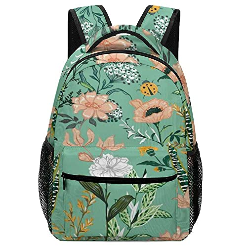 Jeansame Mochila escolar Bolsas de escuela florales pequeñas flores verdes pastoral mochila