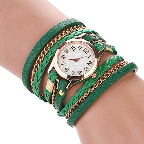 Dosige 1pcs Damen und Herren Lederarmband Uhr, Armbanduhr, Armband Uhr, Mode Zifferblatt Uhr (Grün)